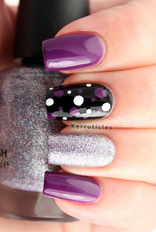 Purple, White and Black Polka Dots Nails.