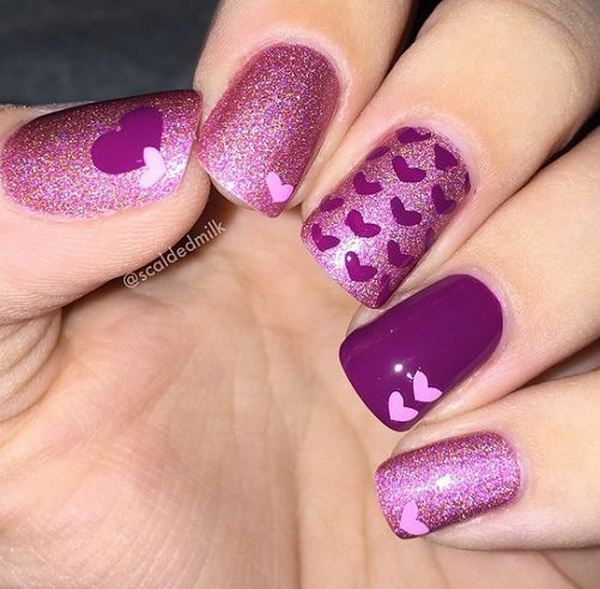 Purple Heart Nail Design.