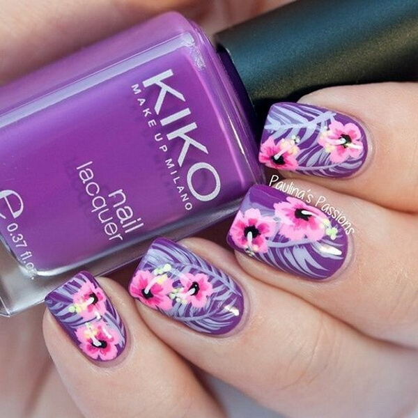 30 chosen purple nail art designs for creative juice purple and pink floral nail art design prinsesfo Choice Image
