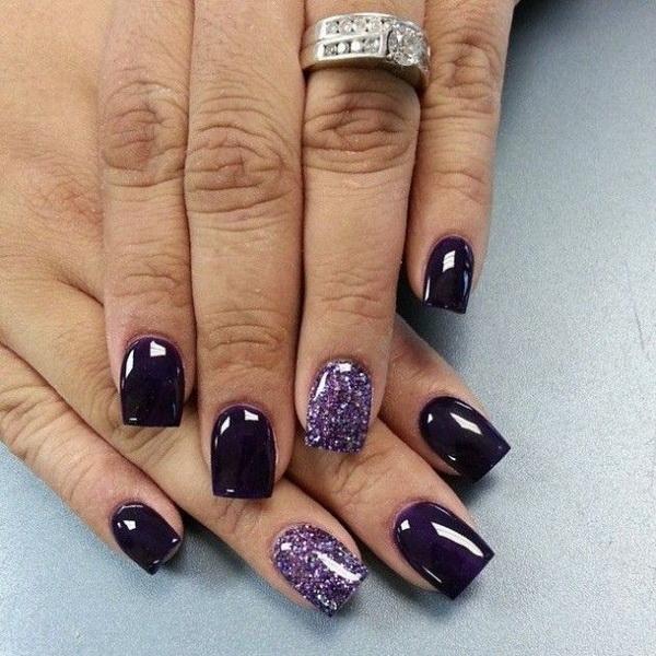 Dark Purple and Glitter Nail Design.