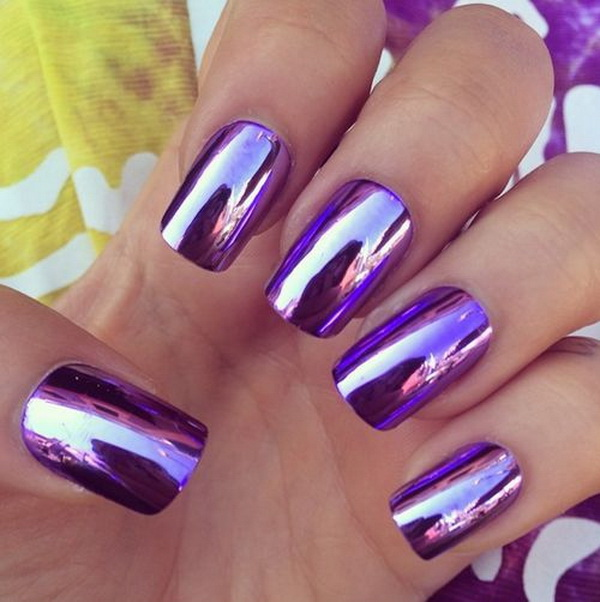 Metallic Purple Nail Art.