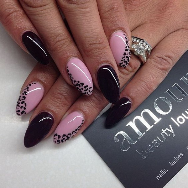 Baby Pink and Black Almond Nails with Animal Prints for Accent. (via www.forcreativejuice.com/beautiful-almond-nail-designs/)