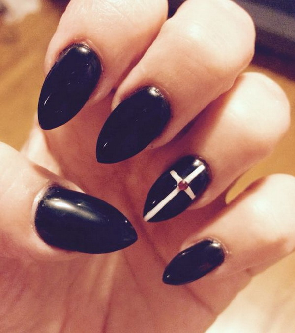 Goth Black Cross Almond Nails.
