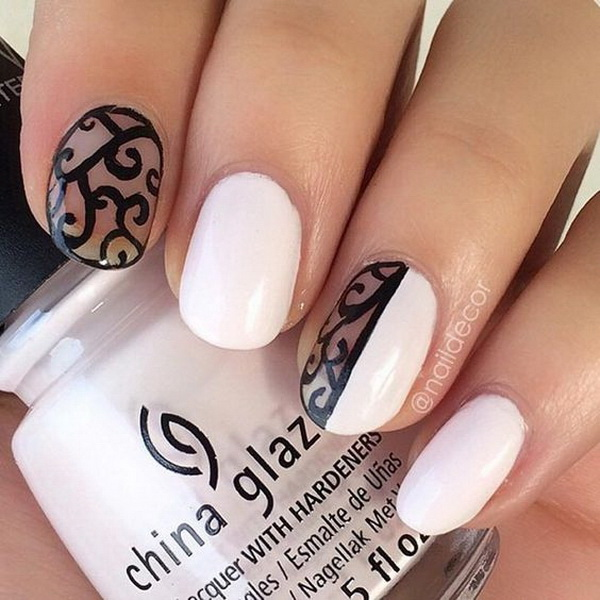 Black And White Negative Space Nail Design.
