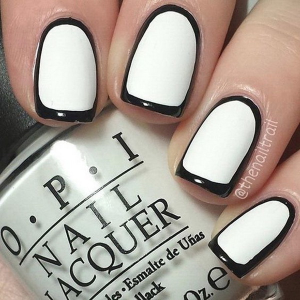 Black and White Borderline Nail Design for Short Nails.