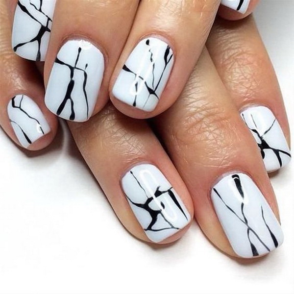 Minimalist Black and White Marble Manicure.