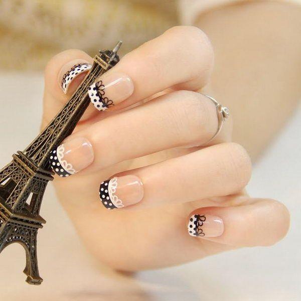 Fashionable Lace Black & White Nails.