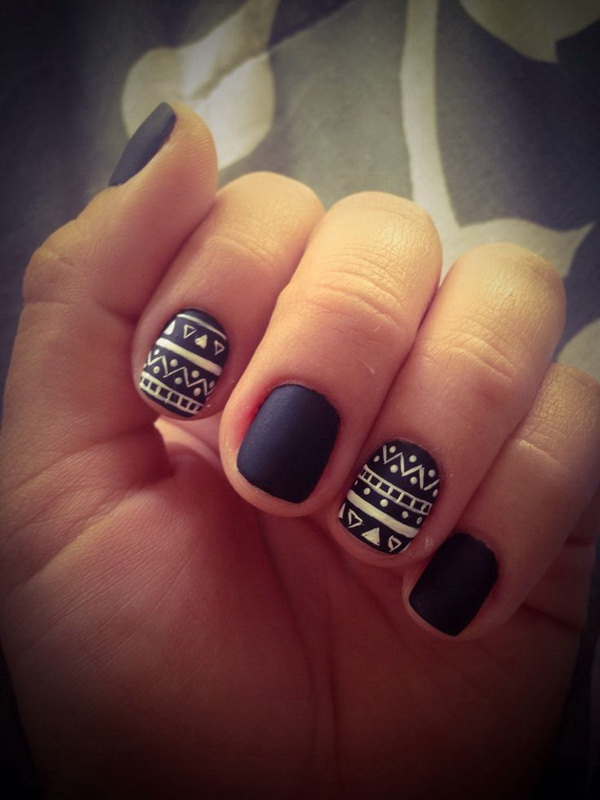 Matte Black and White Tribal Nails.