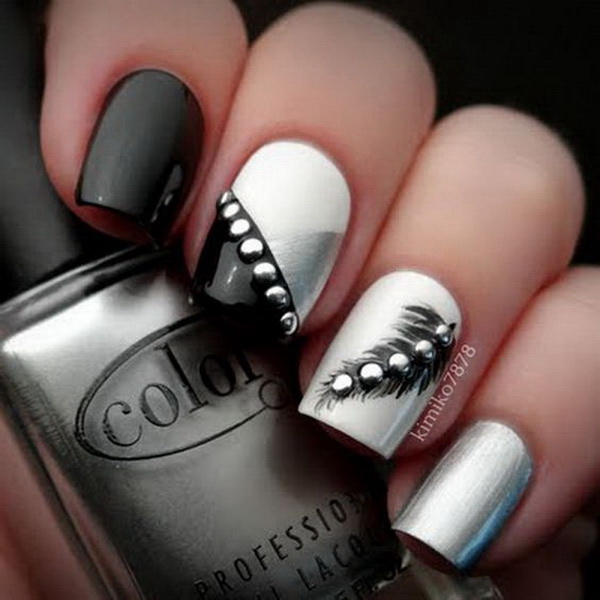 Black and White Feather Nails with Silver Studs - 30 Stylish Black & White Nail Art Designs - For Creative Juice