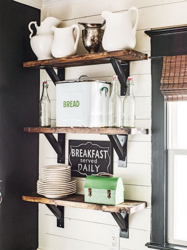 Rustic Pantry Decoration with Wooden Floating Shelves.
