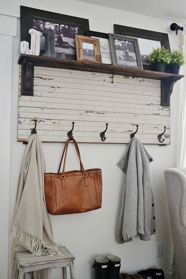 DIY Rustic Entryway Coat Rack.