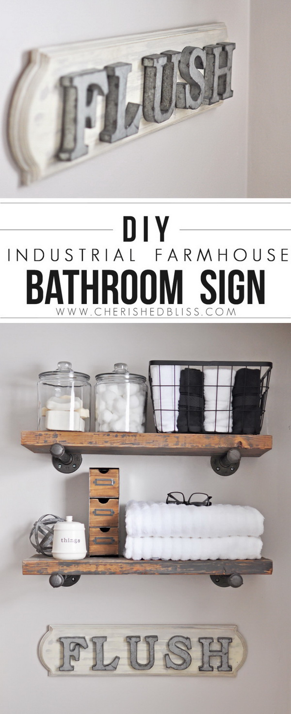DIY Industrial Farmhouse Bathroom Floating Shelves and Sign.