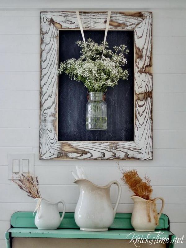 Easy DIY Rustic Farmhouse Framed Chalkboard.