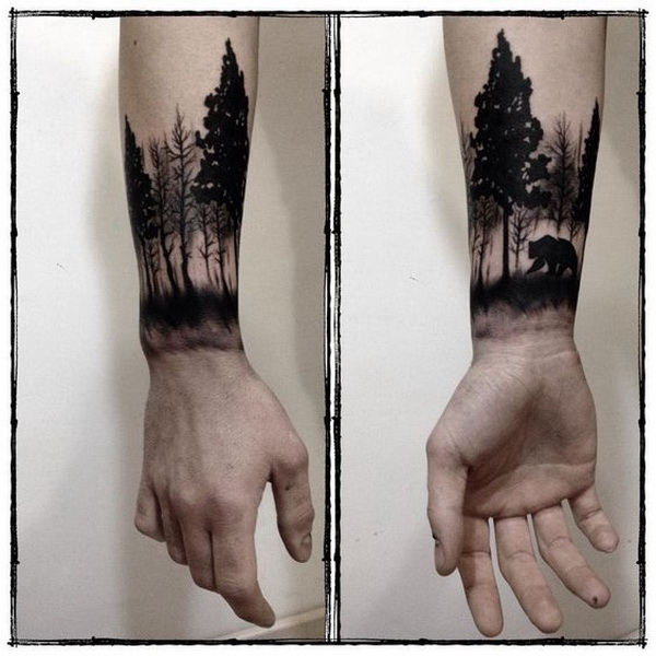 Forest Forearm Tattoo for Men.What a cool tattoo design idea!  Love it very much! This will be my next tattoo design. via https://forcreativejuice.com/awesome-forearm-tattoo-designs/