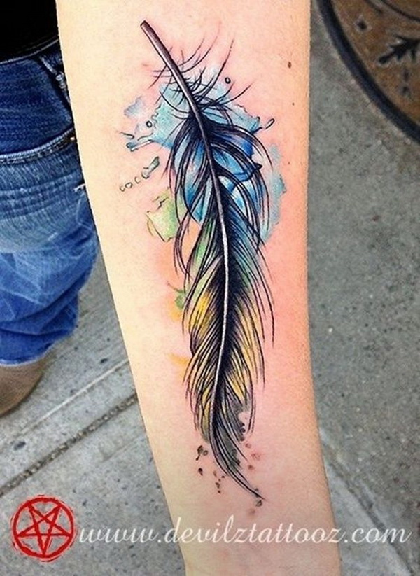 Wonderful Feather Watercolor Tattoo on Forearm.What a cool tattoo design idea!  Love it very much! This will be my next tattoo design. via https://forcreativejuice.com/awesome-forearm-tattoo-designs/