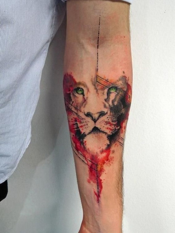 Lion Black and White with Color Combination.What a cool tattoo design idea!  Love it very much! This will be my next tattoo design. via https://forcreativejuice.com/awesome-forearm-tattoo-designs/