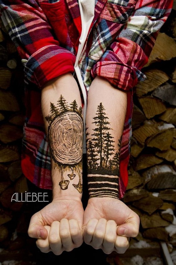 Forest Forearm Tattoo.What a cool tattoo design idea!  Love it very much! This will be my next tattoo design. via http://forcreativejuice.com/awesome-forearm-tattoo-designs/