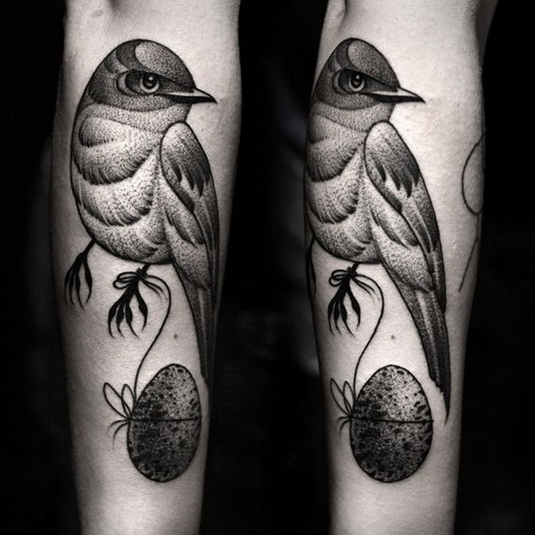 Black and Grey Bird Tattoo on the Forearm.What a cool tattoo design idea!  Love it very much! This will be my next tattoo design. via https://forcreativejuice.com/awesome-forearm-tattoo-designs/