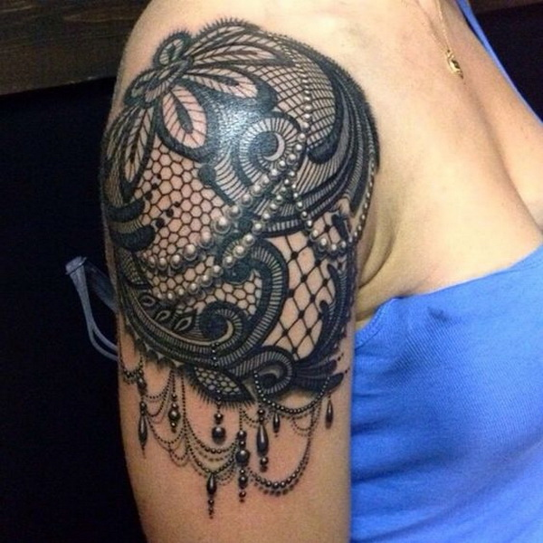 Ornamental Lace Shoulder Tattoo.