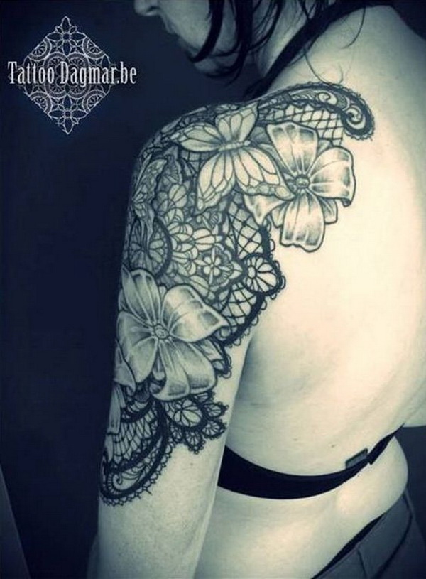 Lace Shoulder Tattoo Design.