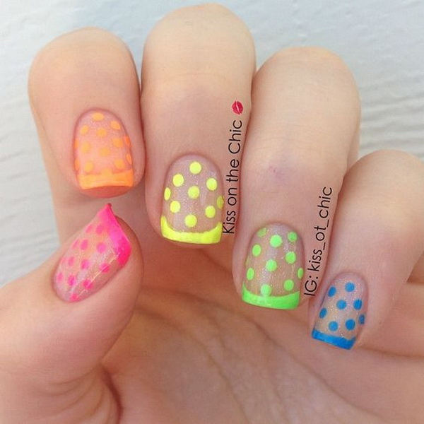 Neon French and Polka Dots Over Clear Glitter. (via forcreativejuice.com)