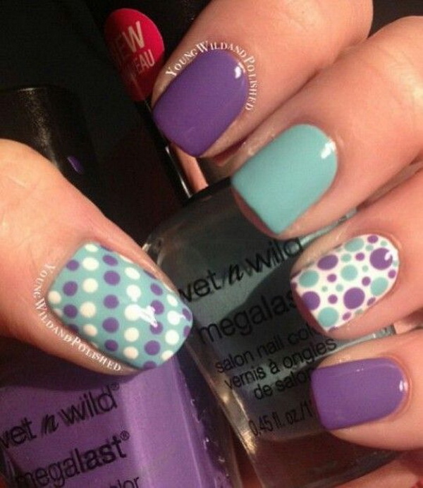 Mint and Purple Polka Dot Nails. (via forcreativejuice.com)