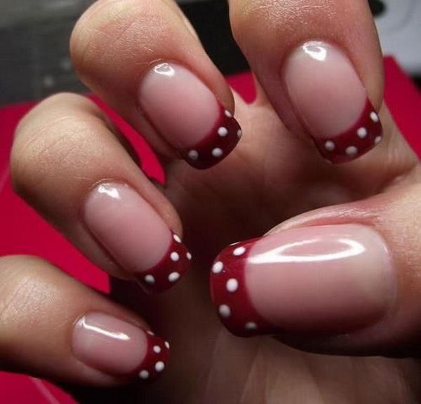 Red and White Polka Dots Tipped Nail Design. (via forcreativejuice.com)