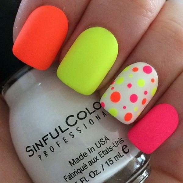 40 pretty polka dots nail designs for creative juice neon nail art design with polka dots prinsesfo Images