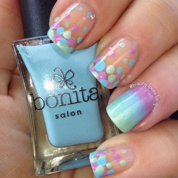 Gradient and Dotted Nail Art Designs. (via forcreativejuice.com)
