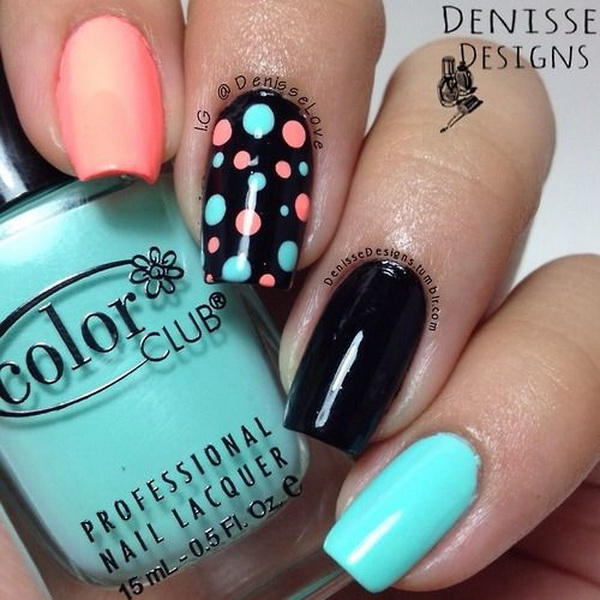 Mint and Coral Polka Dots on Black Nail Base Nail Art. (via forcreativejuice.com)