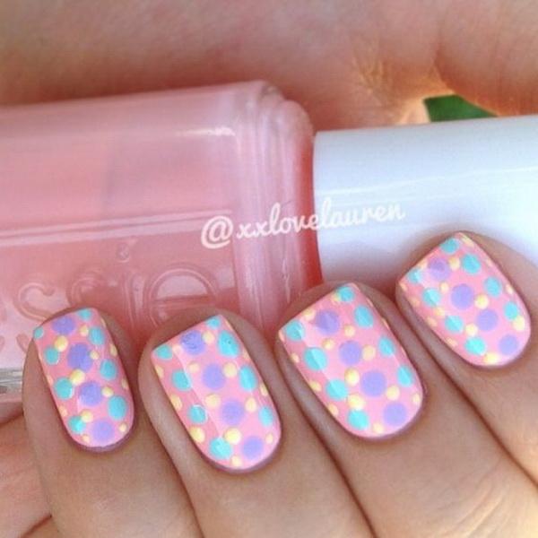 Colorful Polka Dots Nail Art Design. (via forcreativejuice.com)