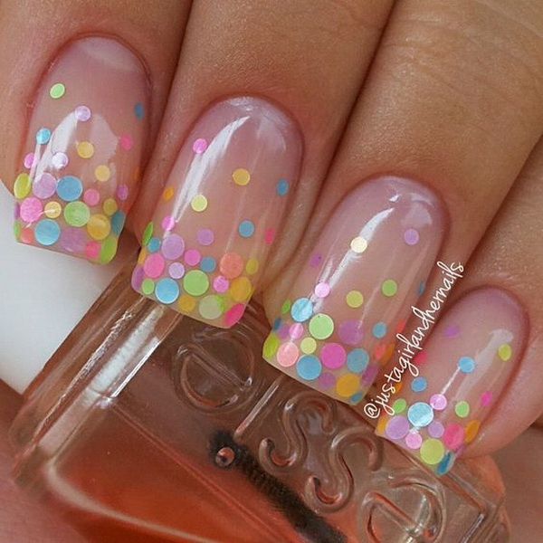 Colorful Polka Dots on Nude Nail Polish. (via forcreativejuice.com)