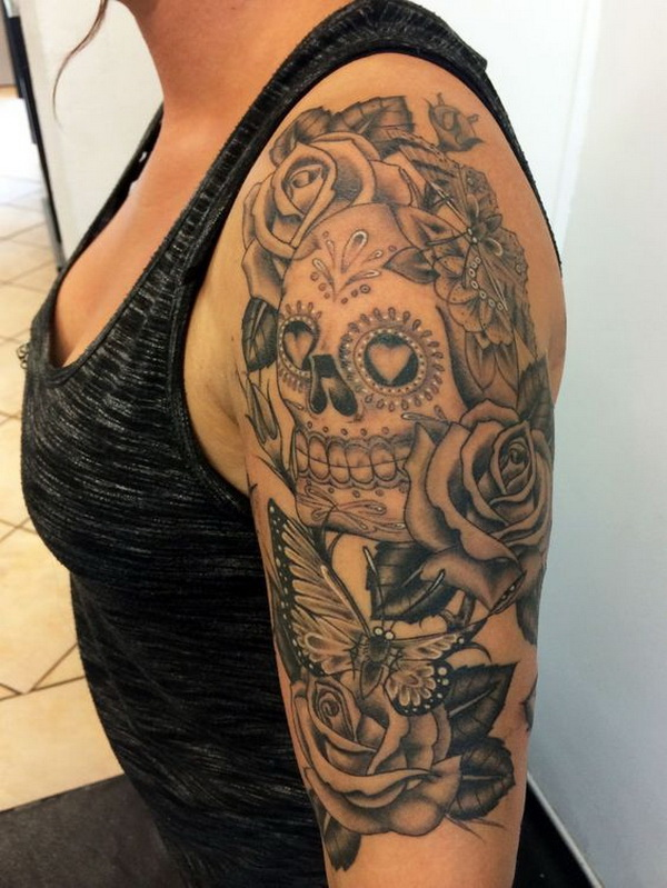 Sugar Skull Candy Tattoo for Women. www. https://forcreativejuice.com/cool-sleeve-tattoo-designs/