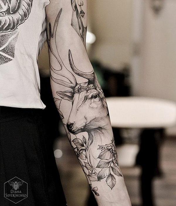 Deer Sleeve Tattoo. www. http://forcreativejuice.com/cool-sleeve-tattoo-designs/