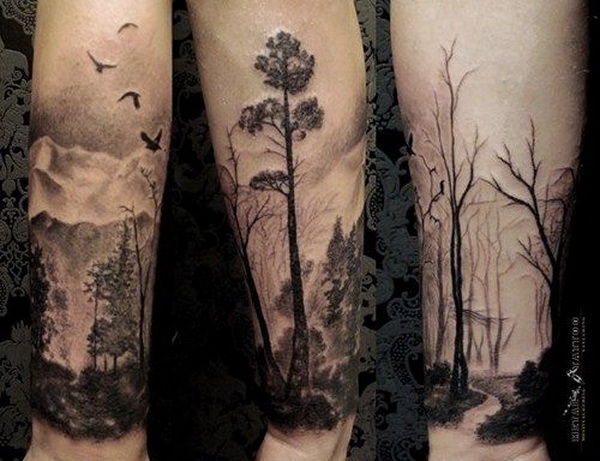 Nature Themed Half Sleeve Tattoo. www. https://forcreativejuice.com/cool-sleeve-tattoo-designs/