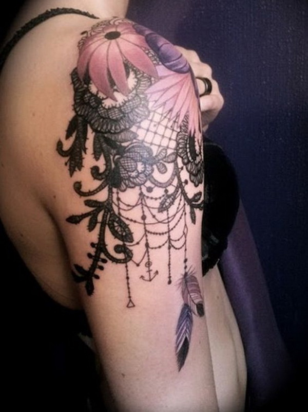 Floral and Lace Quarter Sleeve Tattoo. www. http://forcreativejuice.com/cool-sleeve-tattoo-designs/