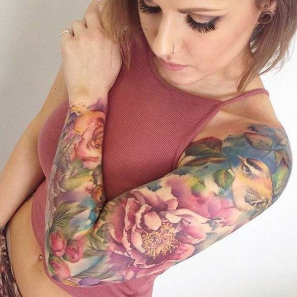 Pastel Full Sleeve Tattoo. www. https://forcreativejuice.com/cool-sleeve-tattoo-designs/