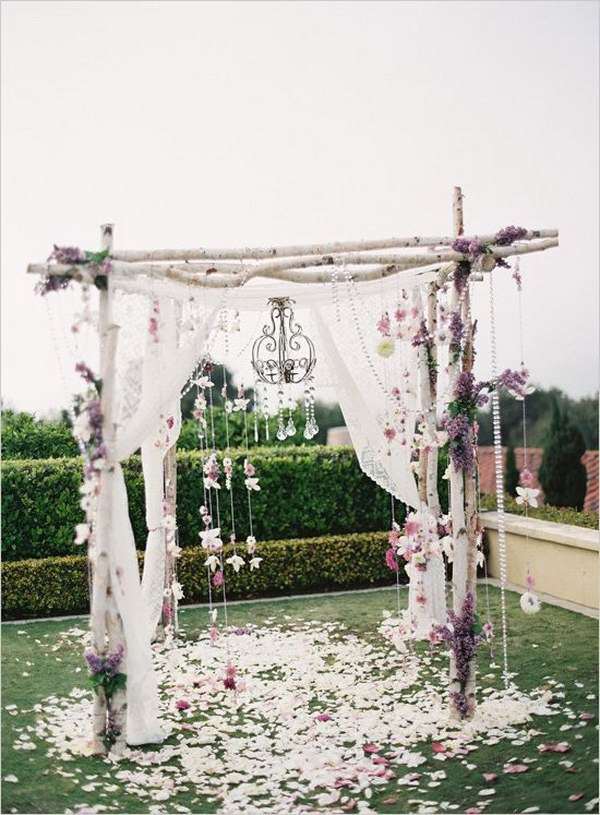 Rustic Birch Tree Wedding Arch. What a beautiful wedding arch decoration idea! Love it!
