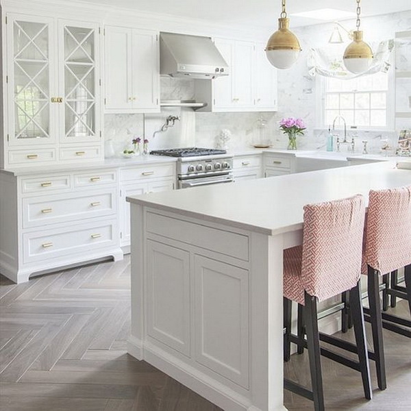 White kitchen with bleached hardwood flooring in herringbone pattern. More via http://forcreativejuice.com/elegant-white-kitchen-interior-designs/