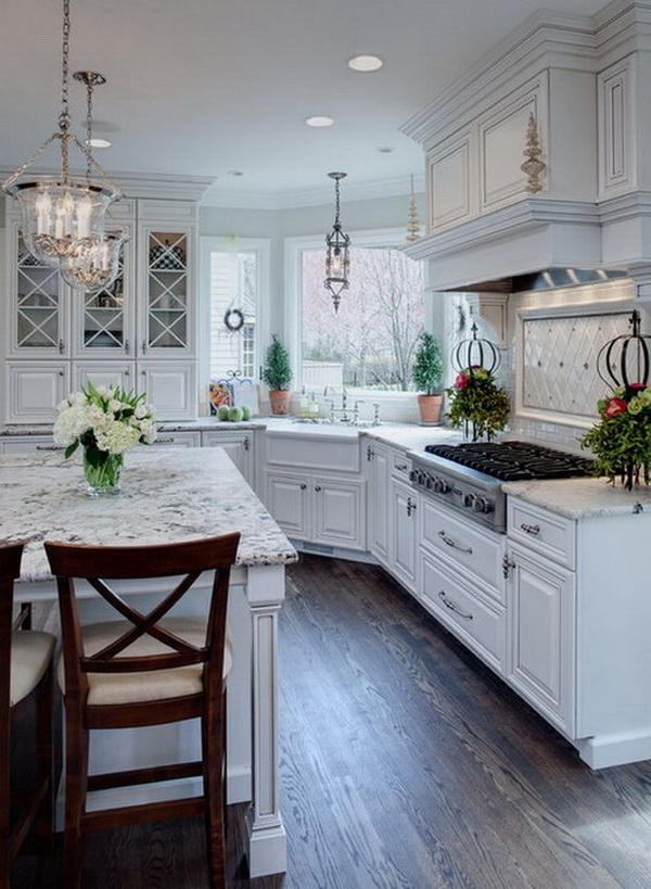 Gray And White Kitchen Designs subway tile backsplash with wooden dining set also white kitchen cabinet and kitchen design ideas in scandinavian style in scandinavian kitchen design Cottage White Kitchen With Built In Hutch Cabinet And Windows More Via Http