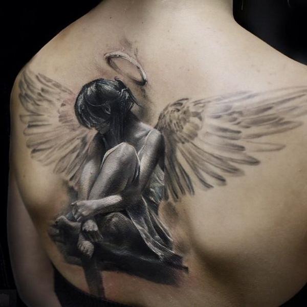 Amazing Realistic Angel Tattoo on Back.