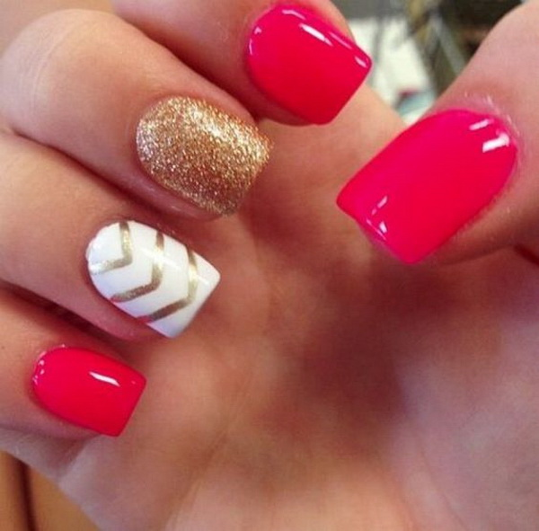 Hot Pink, White and Gold Glitter Nails with Chevron Lines.