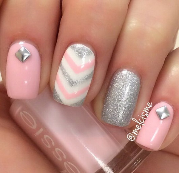 Pink and Silver Girly Nails with Chevron Lines.