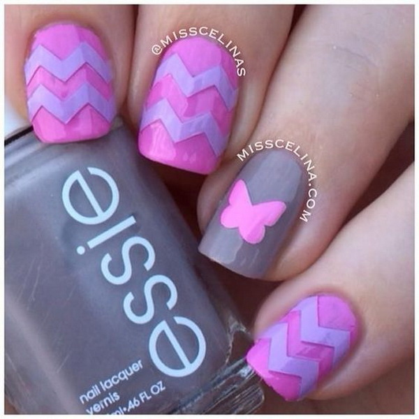Chevron & Butterfly Nail Art Design.