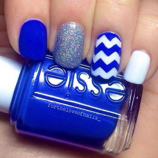 Sparkle Blue Nail Art with CHevron Patterns.