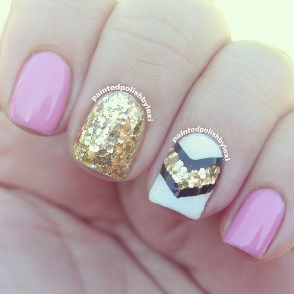 Gold Sequins for Chevron Nail Art Design.