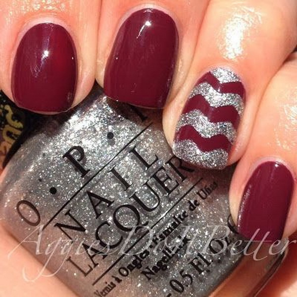 Zoya Toni with Silver Chevron Accent Nail Art.