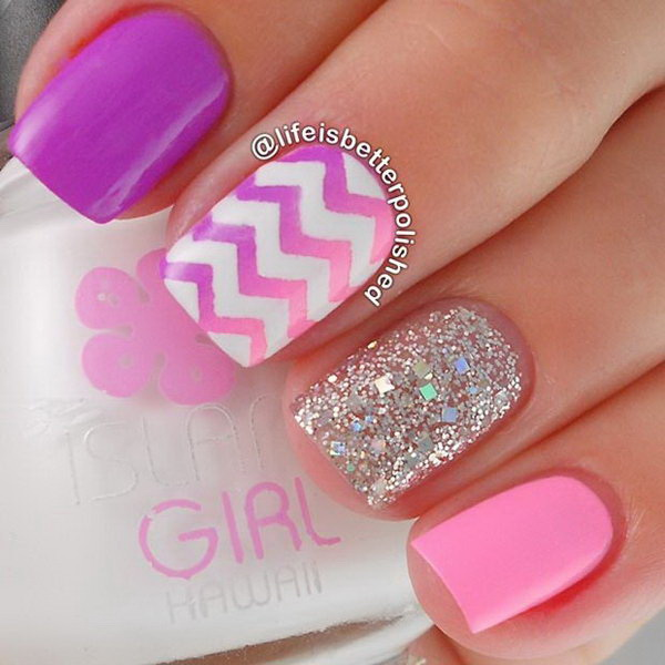 Coral and White Nail Art with Silver Chevron Patterns.