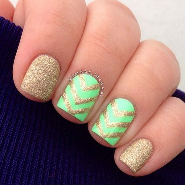 Green and Gold Glitter Chevron Nails.
