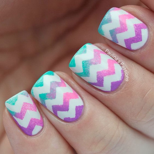 Green and Purple Ombre Chevron Nail Designs.